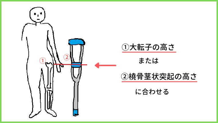 松葉杖の高さ2